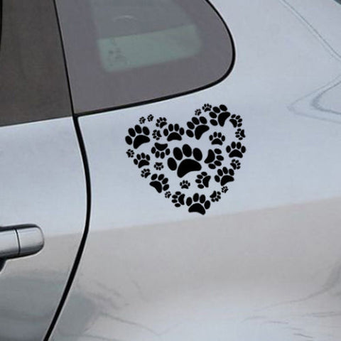 Image of Cat And Dog Heart Paw Print Car Decal - I Love Cat Socks
