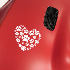 Cat And Dog Heart Paw Print Car Decal