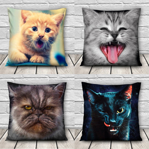 Image of Cushion  Cat Animal Pillow Case - I Love Cat Socks