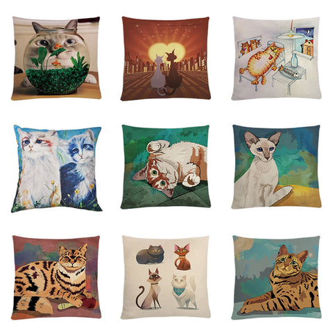 Cushion Cover Cat Printed Pillow Case