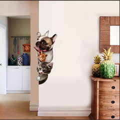 3D Cat, Dog, Hamster Wall Decal