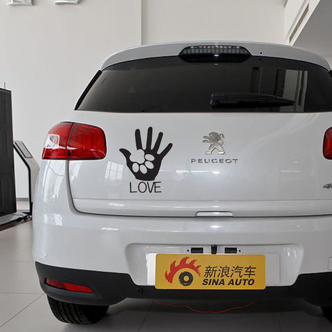 Image of Love Paw Print Car Decal