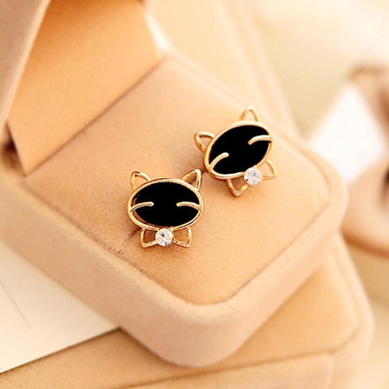 Black Cat Stud Earrings - I Love Cat Socks
