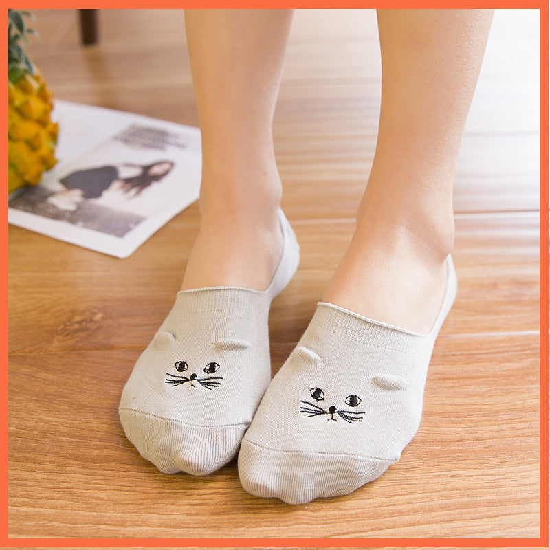 Cat Embroidery Invisible Socks - I Love Cat Socks