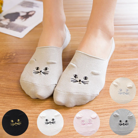 Image of Cat Embroidery Invisible Socks - I Love Cat Socks