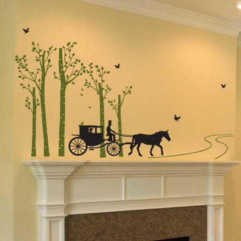 Horse Carriage in Forest Wall Sticker