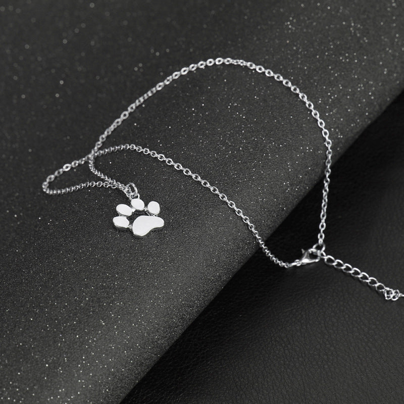 Cat and Dog Paw Print Necklace - I Love Cat Socks