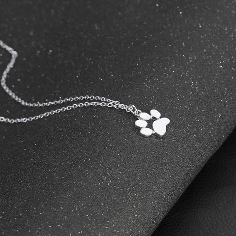Image of Cat and Dog Paw Print Necklace - I Love Cat Socks