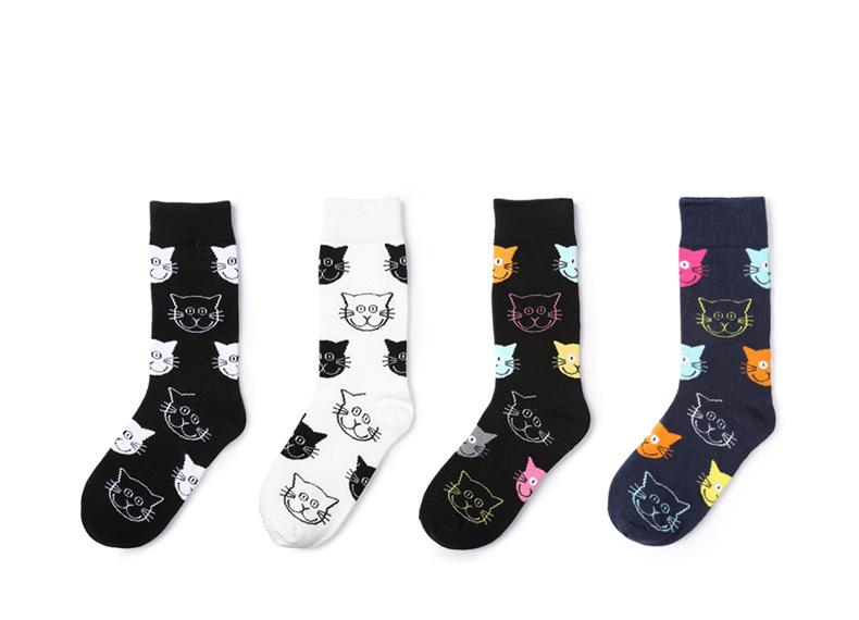 4 pairs Cat Pattern Women Socks - I Love Cat Socks