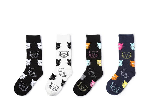 Image of 4 pairs Cat Pattern Women Socks - I Love Cat Socks