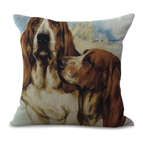 Image of Collectible Basset Hound Painting Cushion Cover - I Love Cat Socks