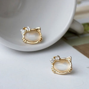 Trendy Cat Stud Earrings