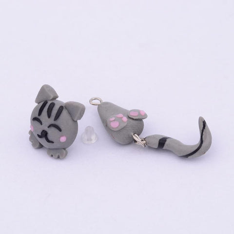Image of Anime Cat Stud Earrings - I Love Cat Socks