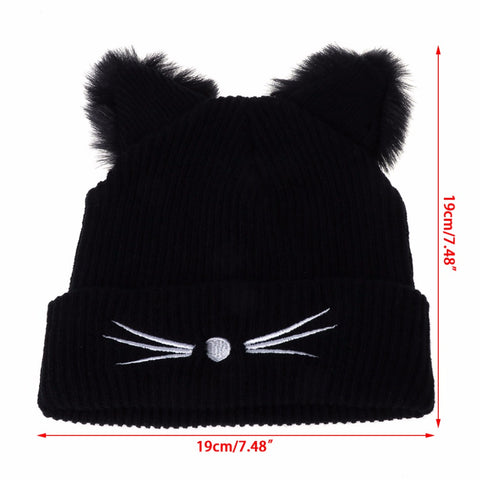 Cat Ears Women  Winter Beanie - I Love Cat Socks
