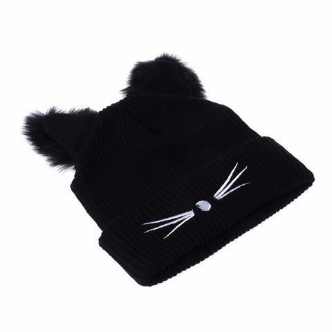 Image of Cat Ears Women  Winter Beanie - I Love Cat Socks