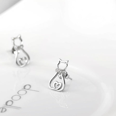 Cat Crystal Stud Earrings - I Love Cat Socks