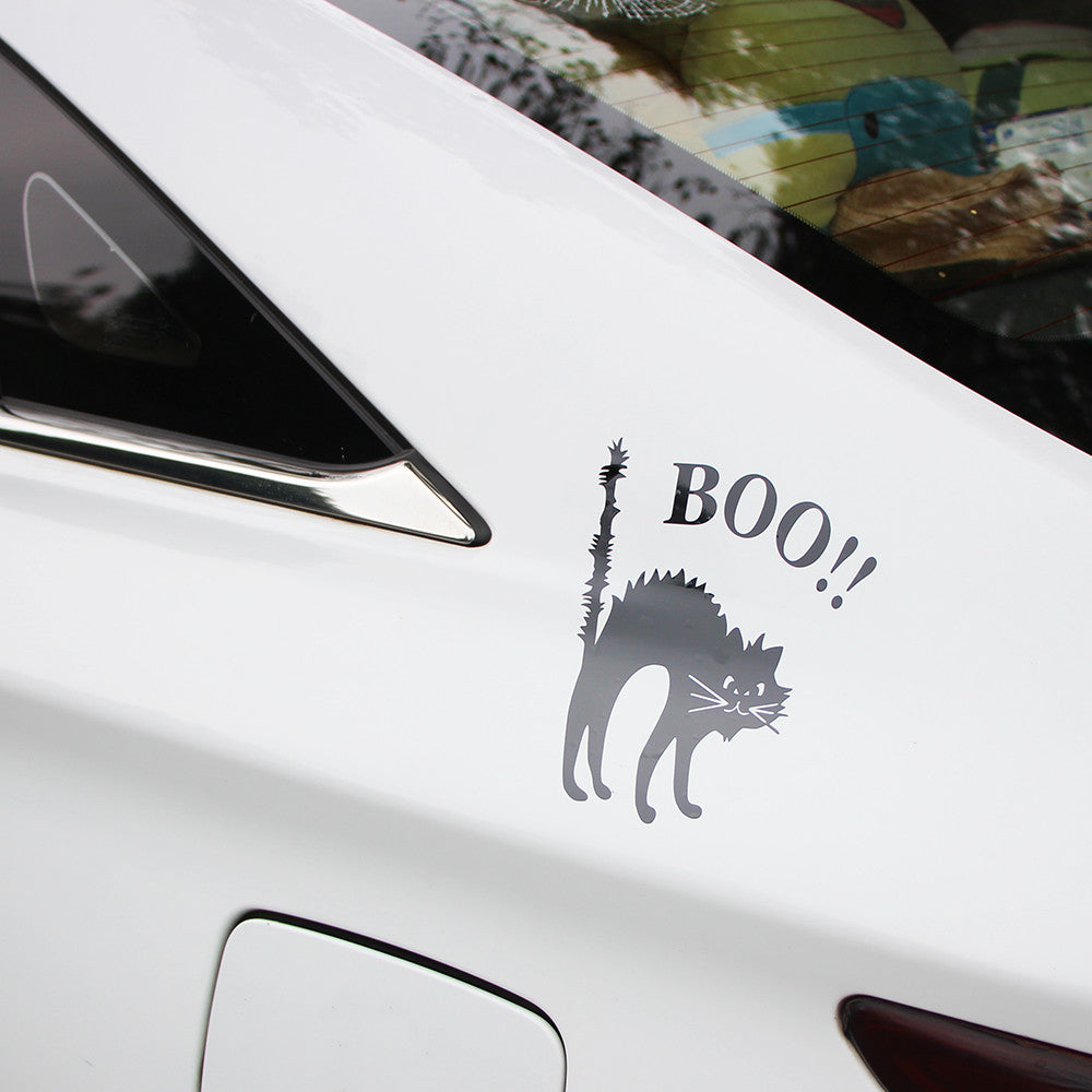 Frightened Cat Car Decal