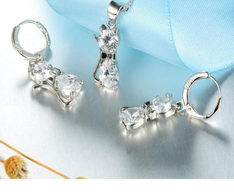 Elegant Cat Jewelry Set