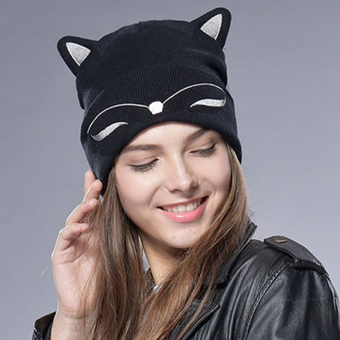 Mom and Baby Knitted Cat Ear Cuff Beanie