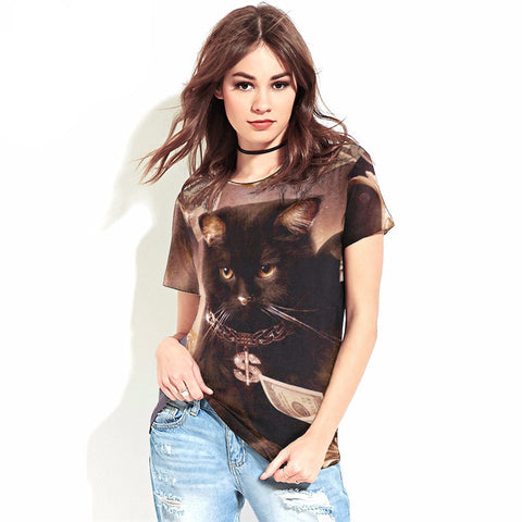 Rich Black Cat Printed Shirt