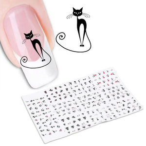 DIY Fashionable Cat Nail Art Sticker - I Love Cat Socks - 1