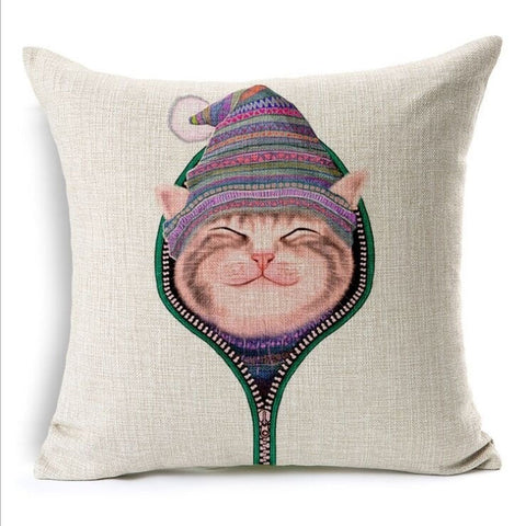 Naughty Cat Square Pillow Case