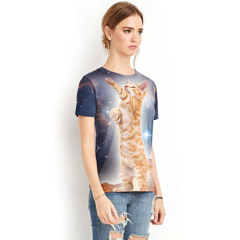 Cat Catching Star Printed Shirt - I Love Cat Socks