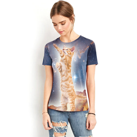 Image of Cat Catching Star Printed Shirt - I Love Cat Socks