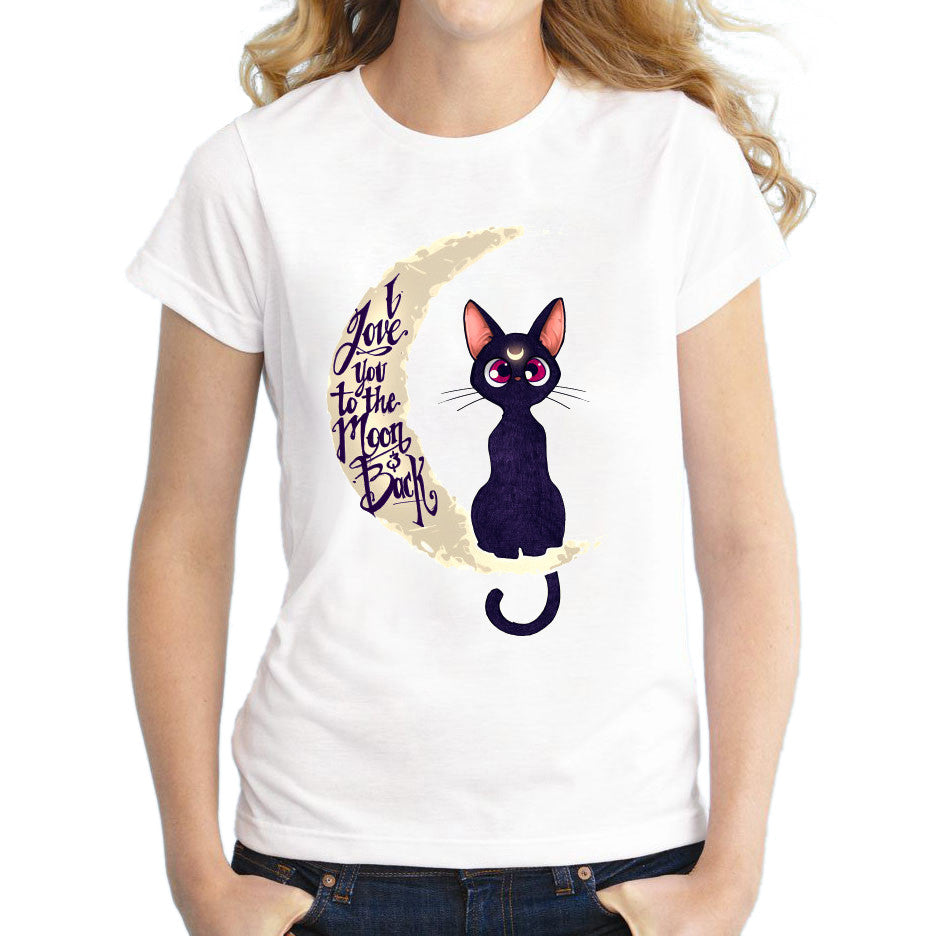 Cat With A Moon Printed Shirt