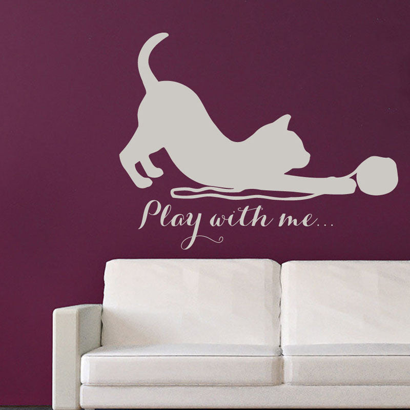 play with me cat wall sticker – i love cat socks