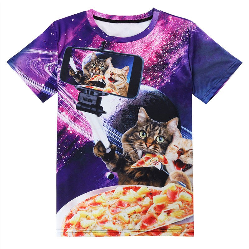 Cats Selfie With Pizza Shirt