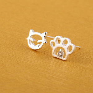 Cat Paw Print  Stud Earrings