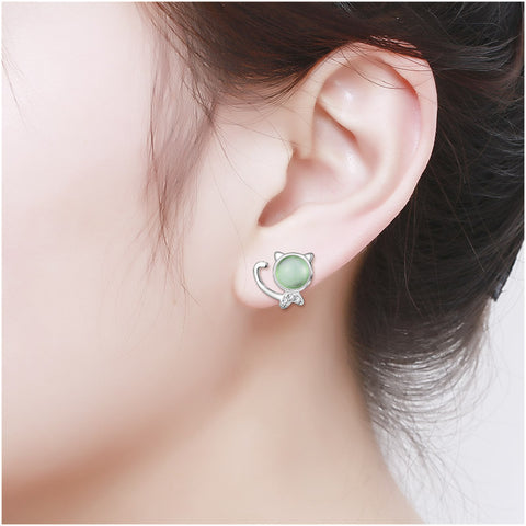 Cat Stone Stud Earrings - I Love Cat Socks
