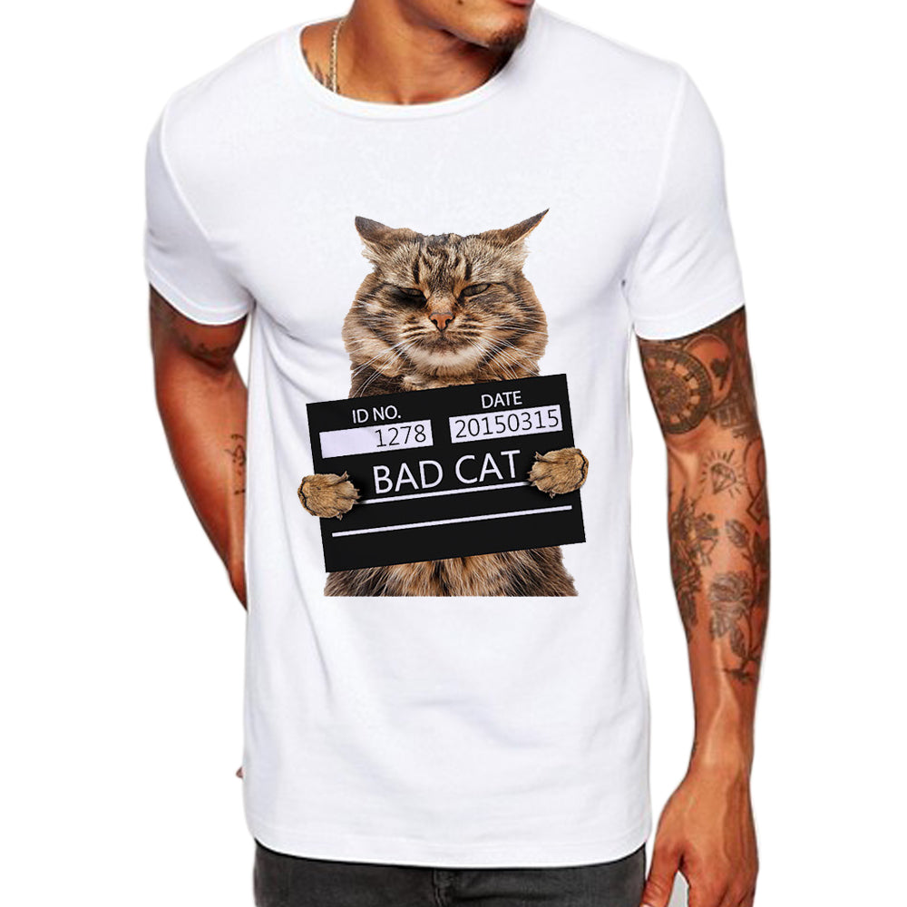 Bad Cat Print T-Shirt - I Love Cat Socks