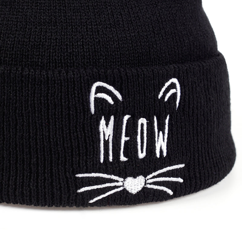 Cat Embroidery Cotton Beanie - I Love Cat Socks