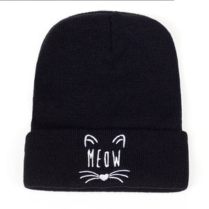 Cat Embroidery Cotton Beanie