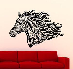 Horse Tribal Head Pattern Wall Sticker