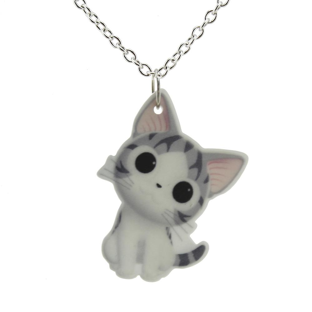 Cat Pendant Short Chain Necklaces - I Love Cat Socks