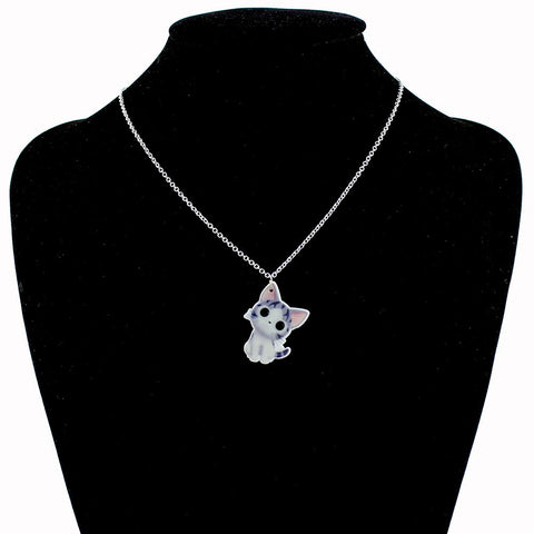 Image of Cat Pendant Short Chain Necklaces - I Love Cat Socks