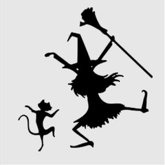 Dancing Cat And Witch Decal