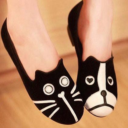 Casual Cat and Dog Flat Shoes - I Love Cat Socks