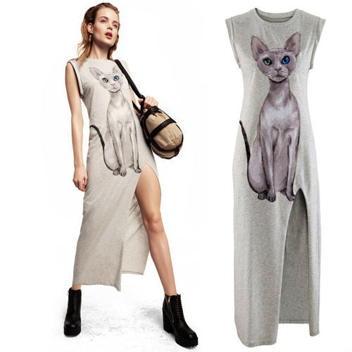 Sexy Cat Printed Dress - I Love Cat Socks - 1