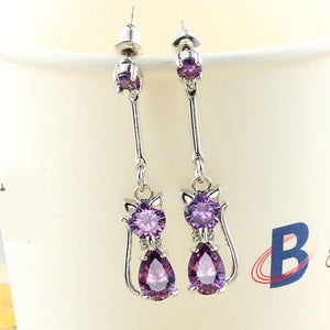 Crystal Cat Long Earrings