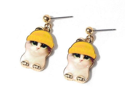 Image of Cat Hat Earrings - I Love Cat Socks