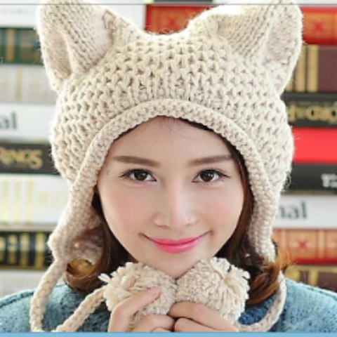 Image of Lovely Knitted Cat Ear Beanie