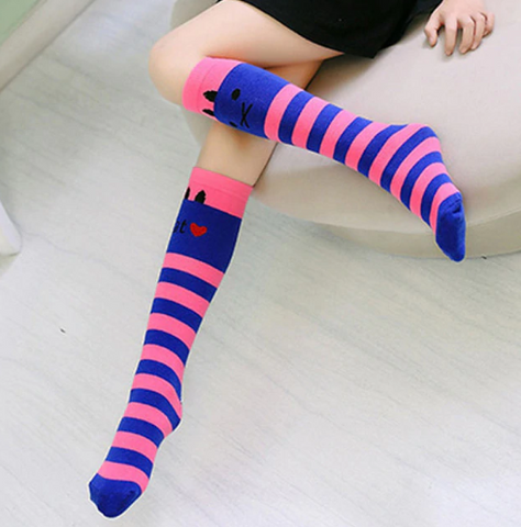 Image of Adorable and Cool Knee High Socks for Children - I Love Cat Socks