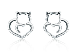 Cute Cat Small Stud Earrings - I Love Cat Socks