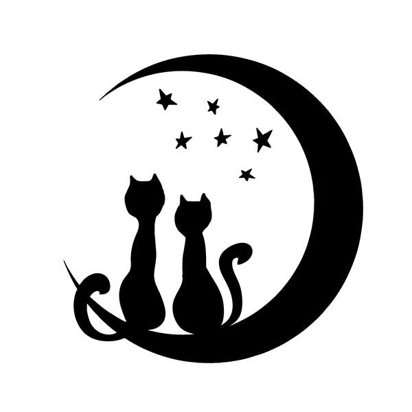 Cats On The Moon Car Decal - I Love Cat Socks