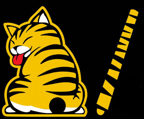 Yellow Rear Wiper Cat Decal
