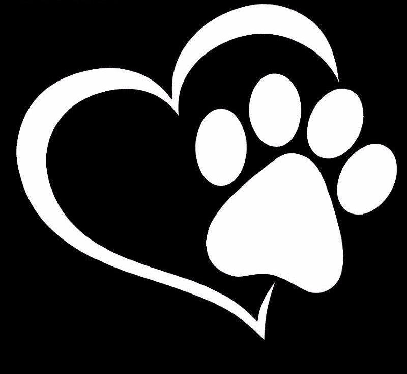 Paw Print And A Heart Car Decal